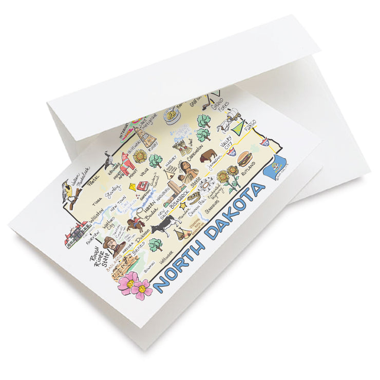 North Dakota Map Greeting Card