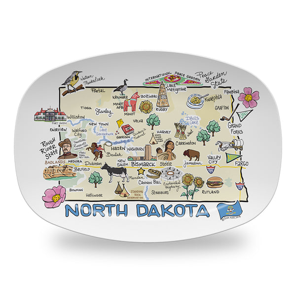North Dakota Map Platter