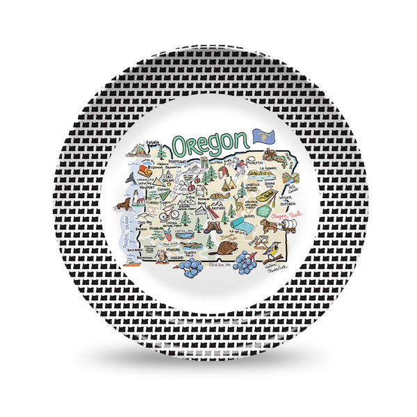 Oregon Map Black & White Plate