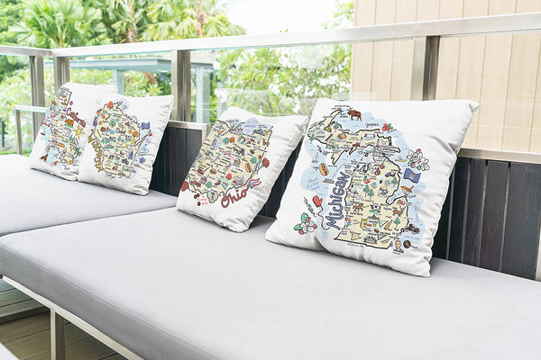 Massachusetts Map Pillow