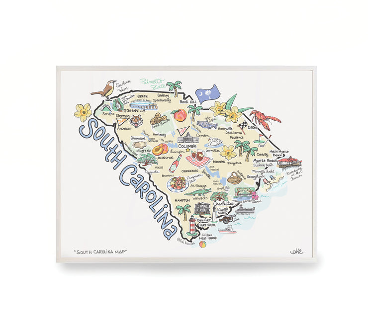 South Carolina Map Print