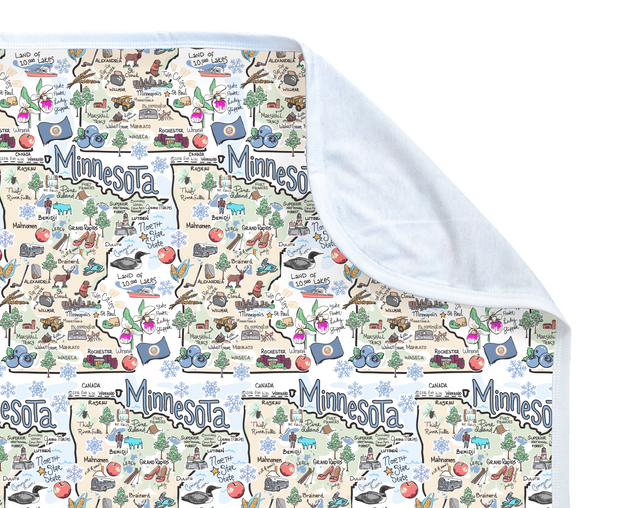 Minnesota Map Baby Blanket - PIMA