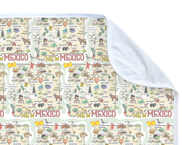 ORGANIC COTTON - New Mexico Map Baby Blanket
