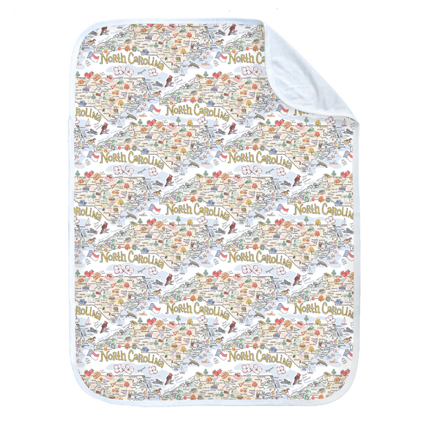 North Carolina Map Baby Blanket - PIMA
