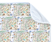 Oregon Map Baby Blanket - PIMA