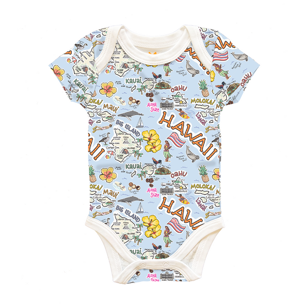 Hawaii Map Baby One-Piece - PIMA