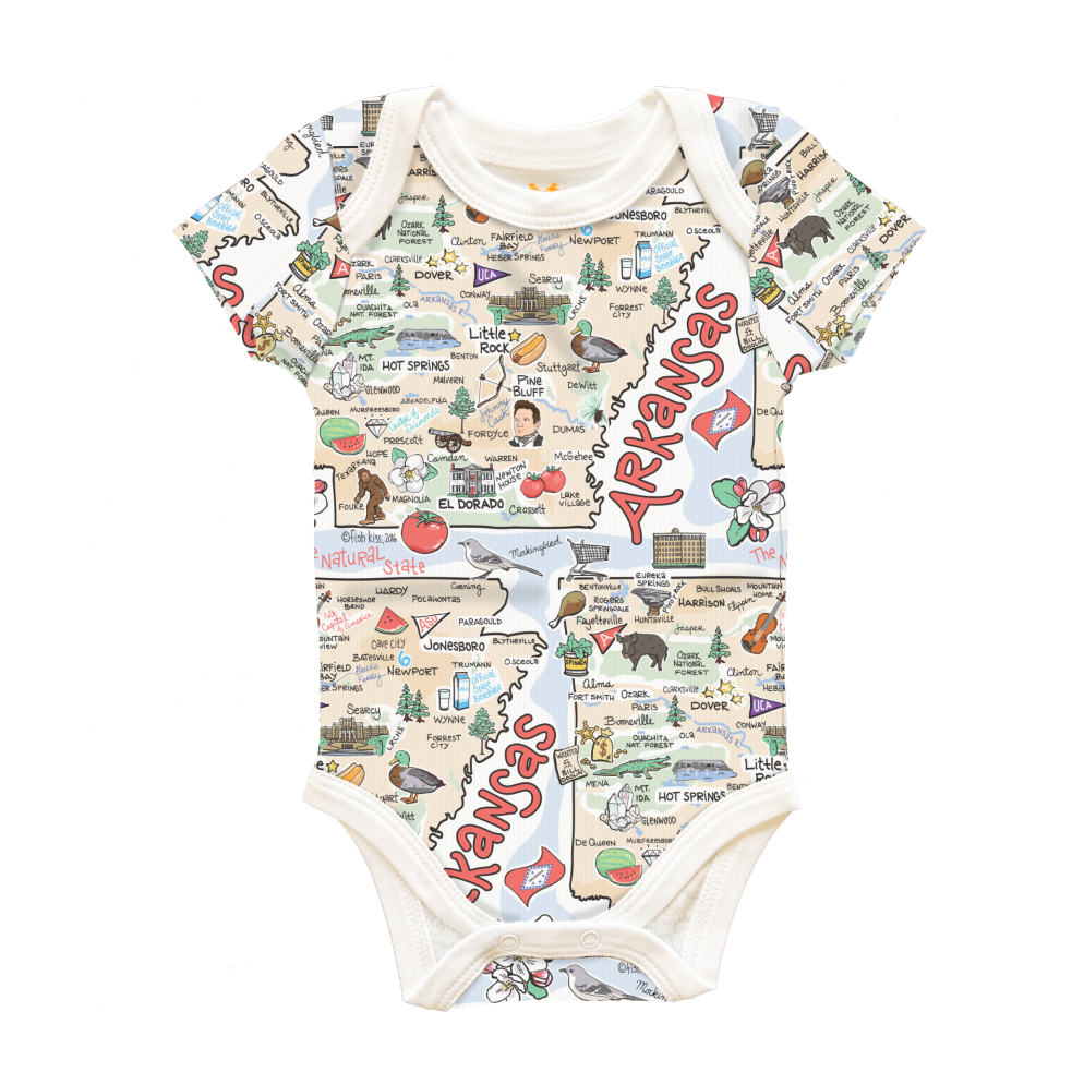 Arkansas Map Baby One-Piece - PIMA