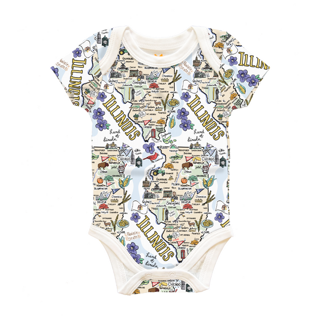 Illinois Map Baby One-Piece - PIMA