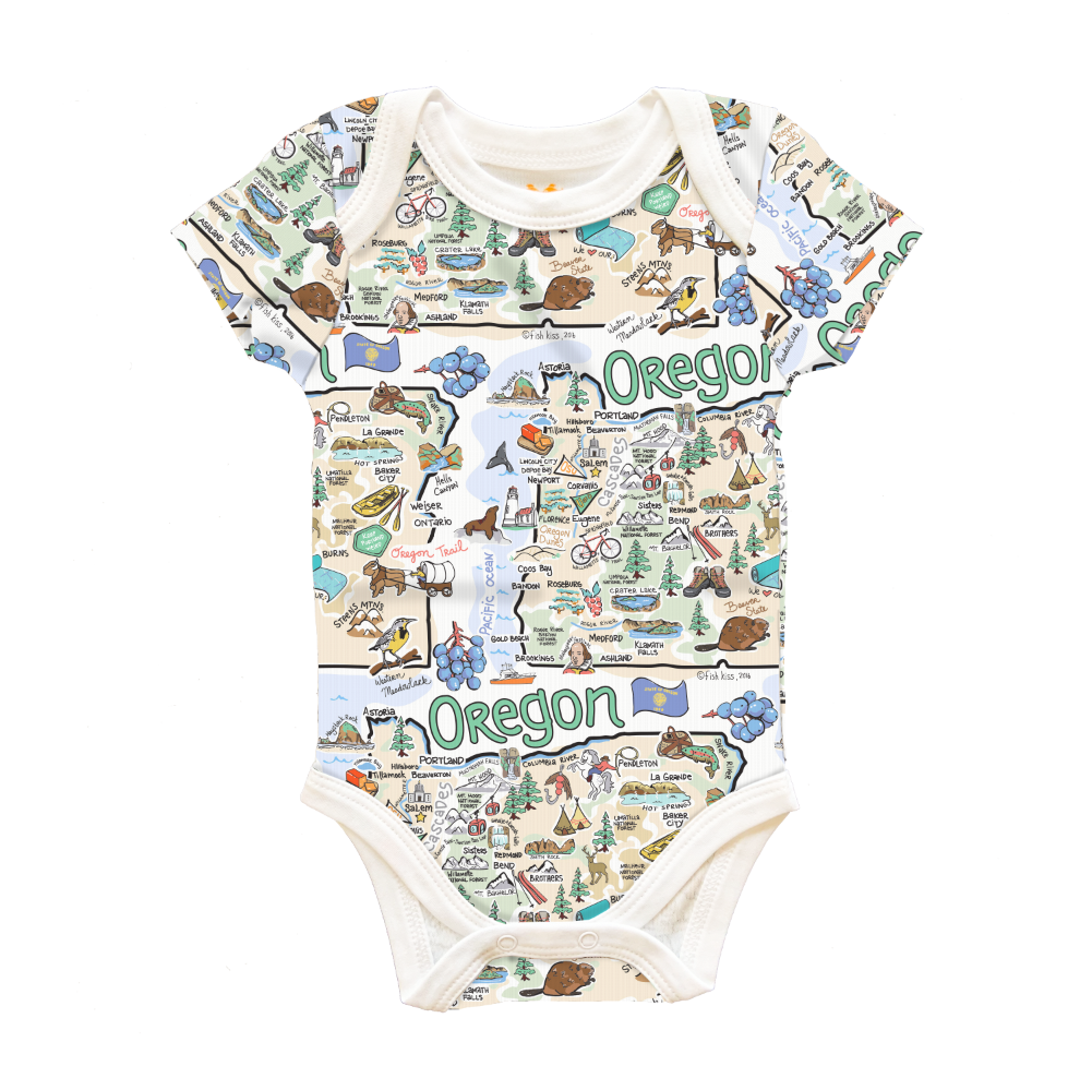 Oregon Map Baby One-Piece - PIMA