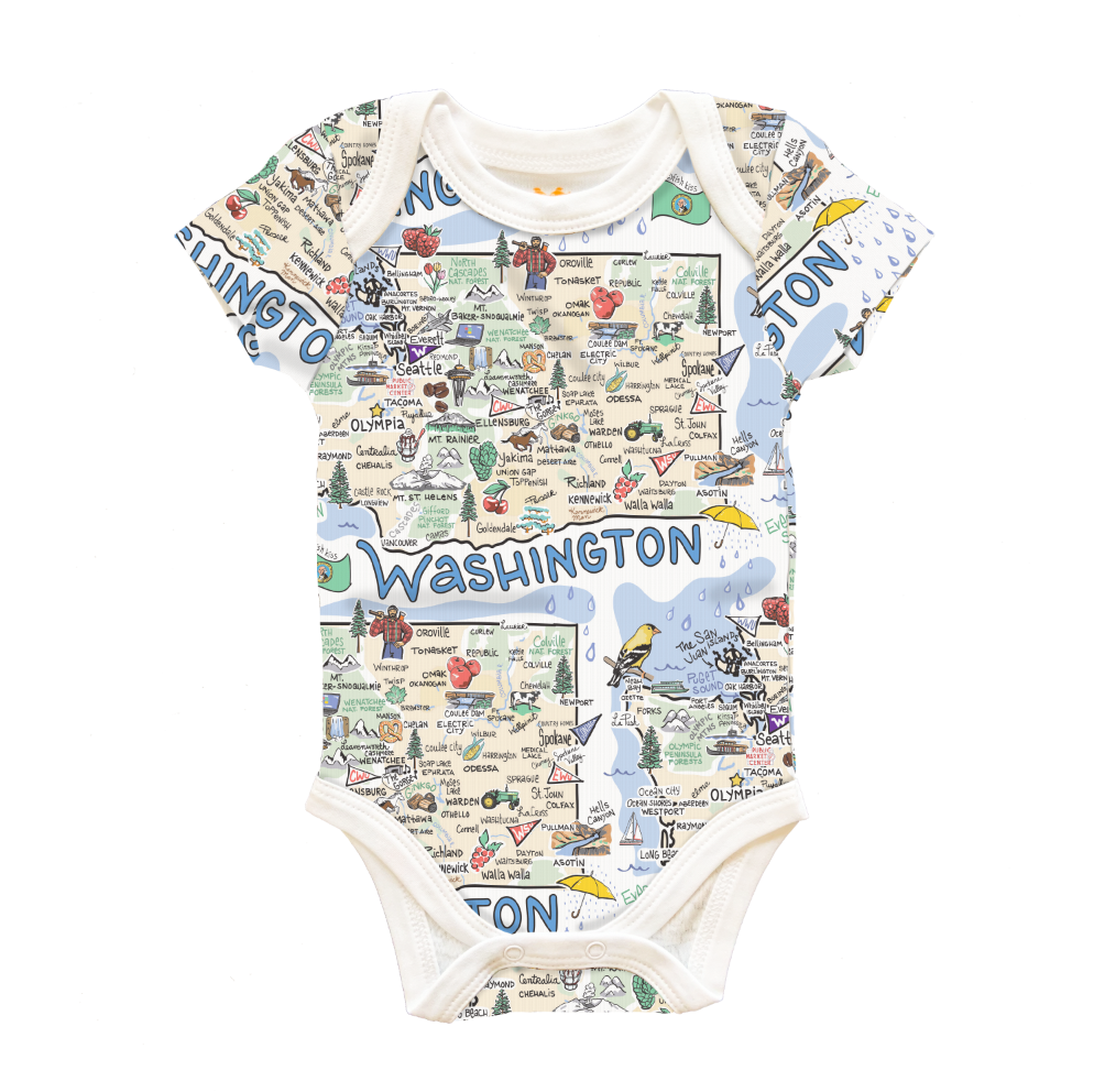 Washington Map Baby One-Piece - PIMA