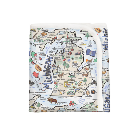 Michigan Map Baby Blanket - PIMA