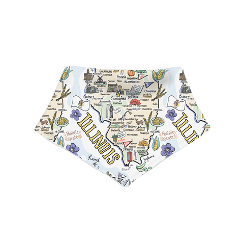 Illinois Map Bandana Bib - PIMA