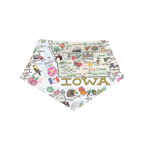 Iowa Map Bandana Bib - PIMA
