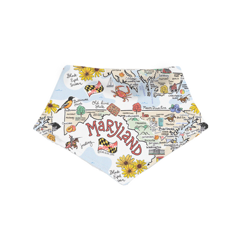 Maryland Map Bandana Bib - PIMA