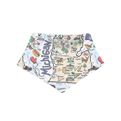 Michigan Map Bandana Bib - PIMA