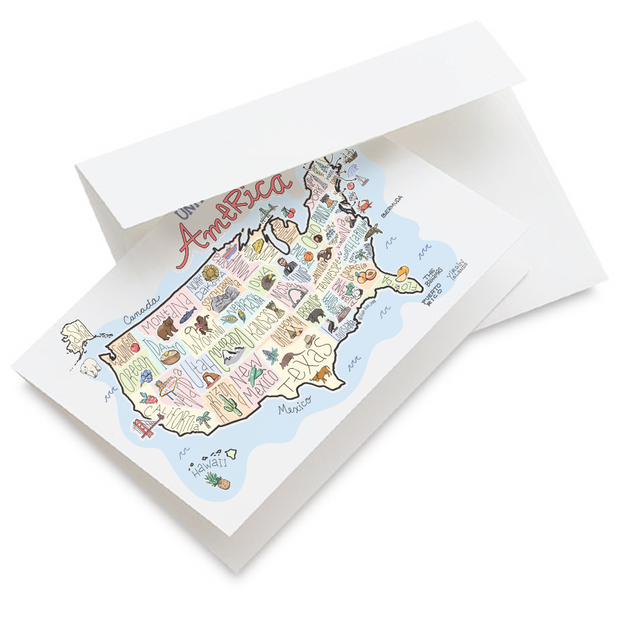 America Map Greeting Card