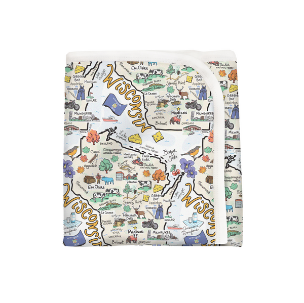 Wisconsin Map Baby Blanket - PIMA