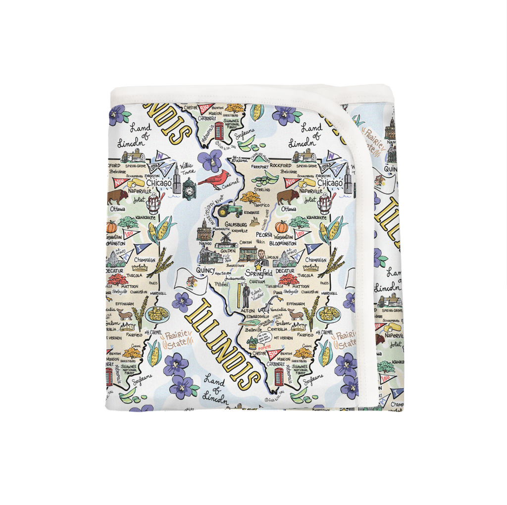 Illinois Map Baby Blanket - PIMA