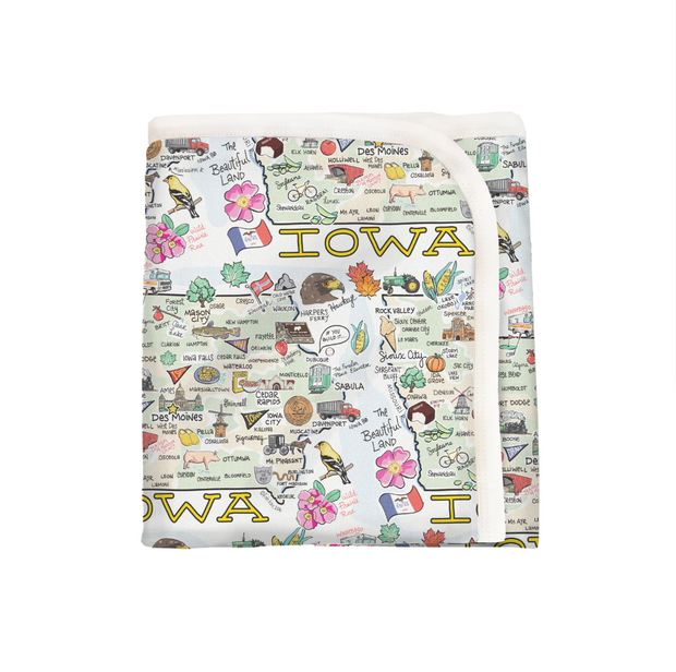 Iowa Map Baby Blanket - PIMA