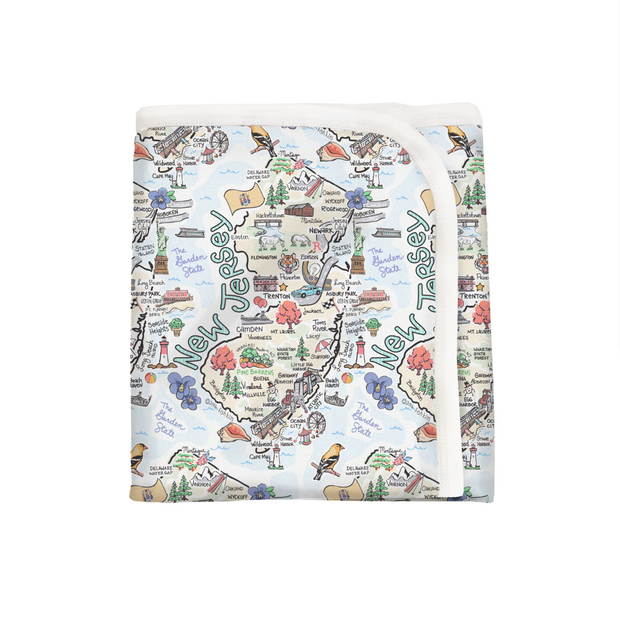 ORGANIC COTTON - New Jersey Map Baby Blanket