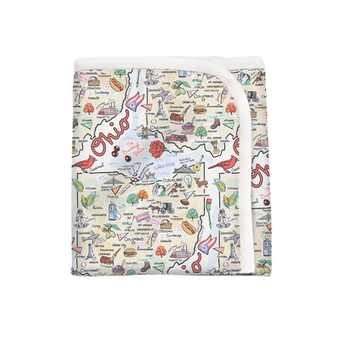 Ohio Map Baby Blanket - PIMA