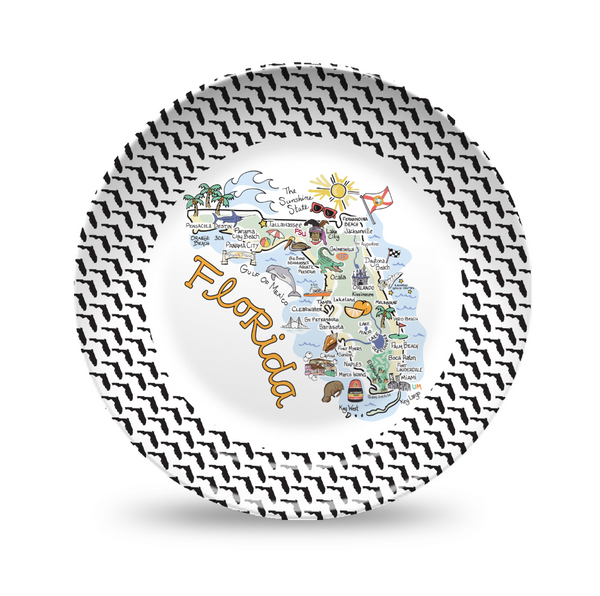Florida Map Black & White Plate