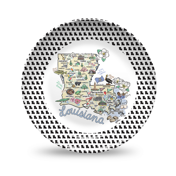 Louisiana Map Black & White Plate