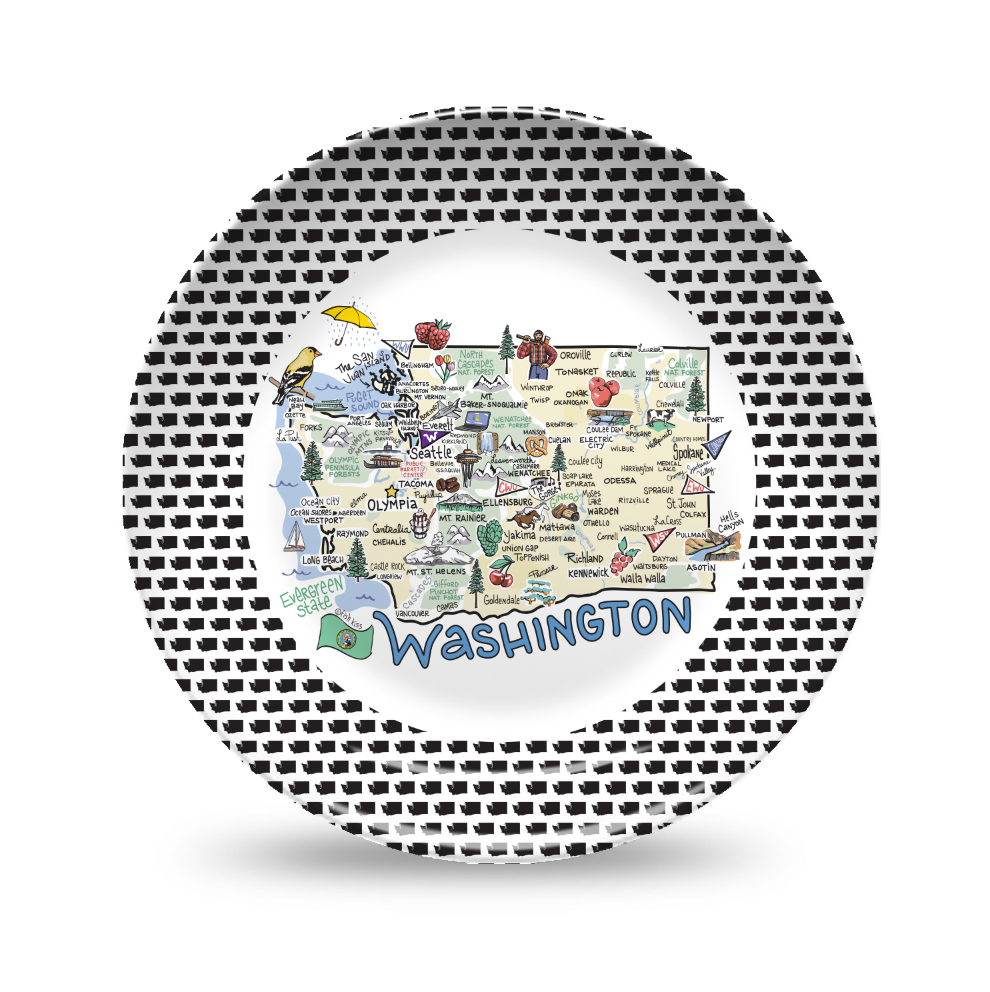 Washington Map Black & White Plate