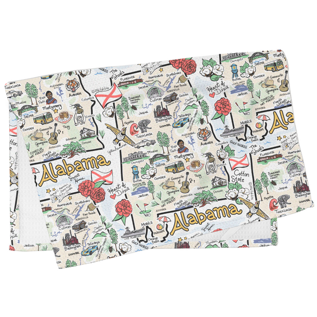 Alabama Map Tea Towel