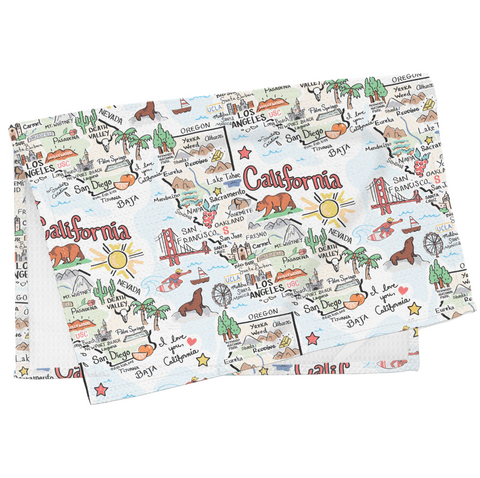 California Map Tea Towel