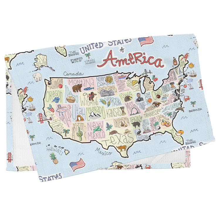 America Map Tea Towel