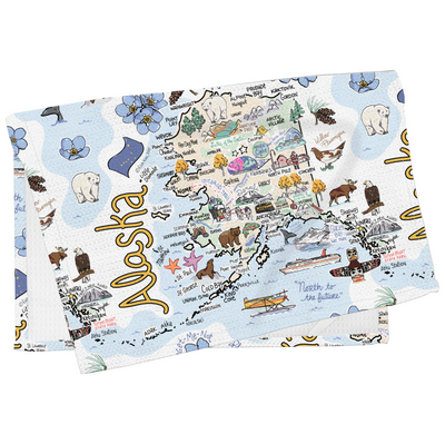 Alaska Map Tea Towel
