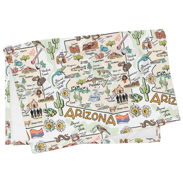 Arizona Map Tea Towel