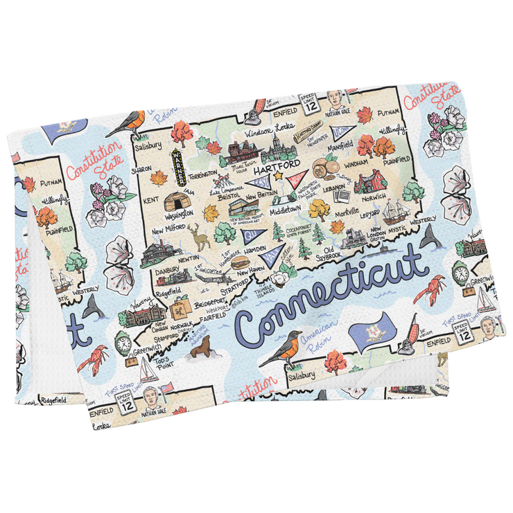 Connecticut Map Tea Towel