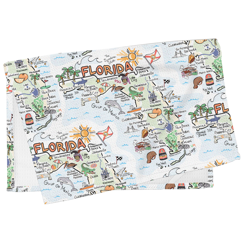 Florida Map Tea Towel