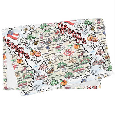 Georgia Map Tea Towel