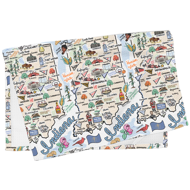 Indiana Map Tea Towel