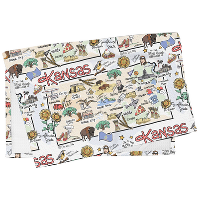 Kansas Map Tea Towel