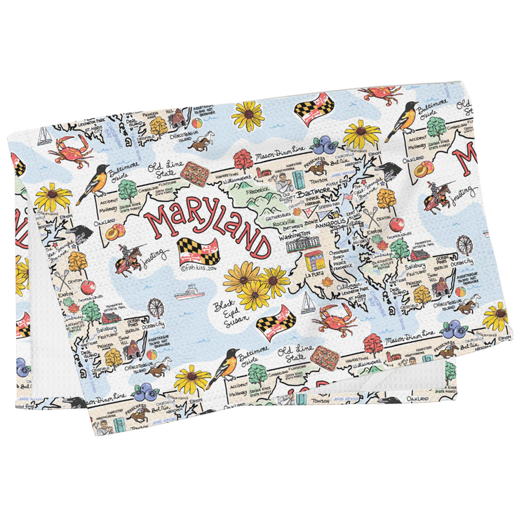 Maryland Map Tea Towel
