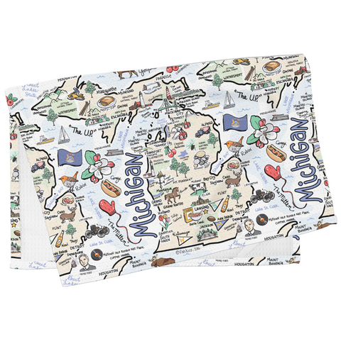Michigan Map Tea Towel