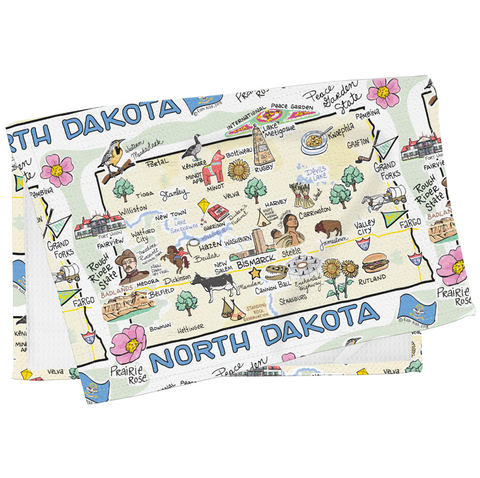 North Dakota Map Tea Towel