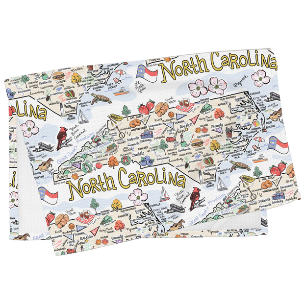 North Carolina Map Tea Towel
