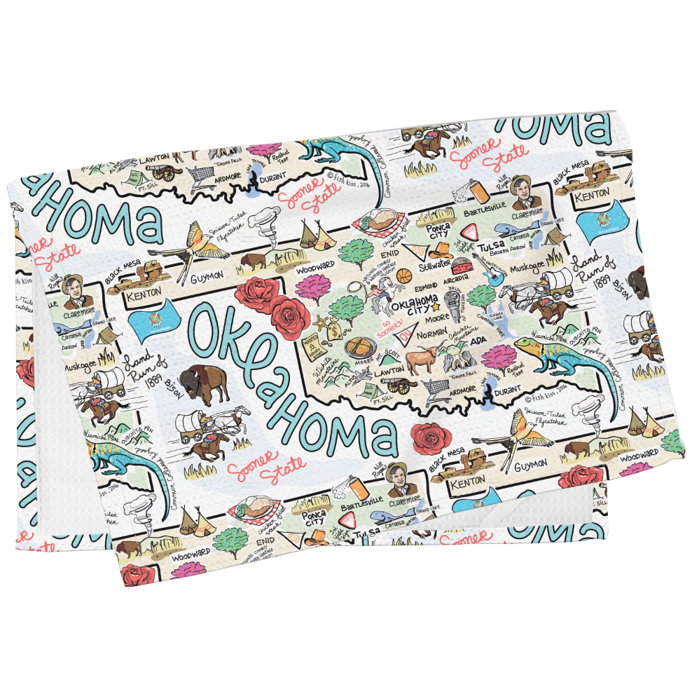 Oklahoma Map Tea Towel