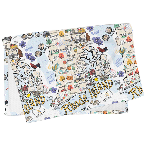 Rhode Island Map Tea Towel
