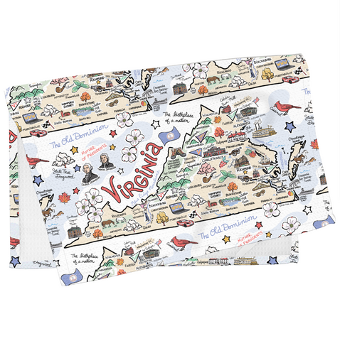 Virginia Map Tea Towel