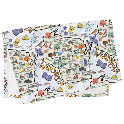Wisconsin Map Tea Towel