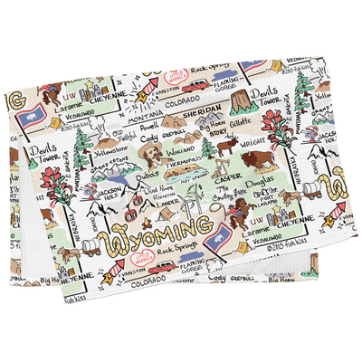 Wyoming Map Tea Towel
