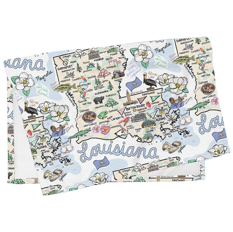 Louisiana Map Tea Towel