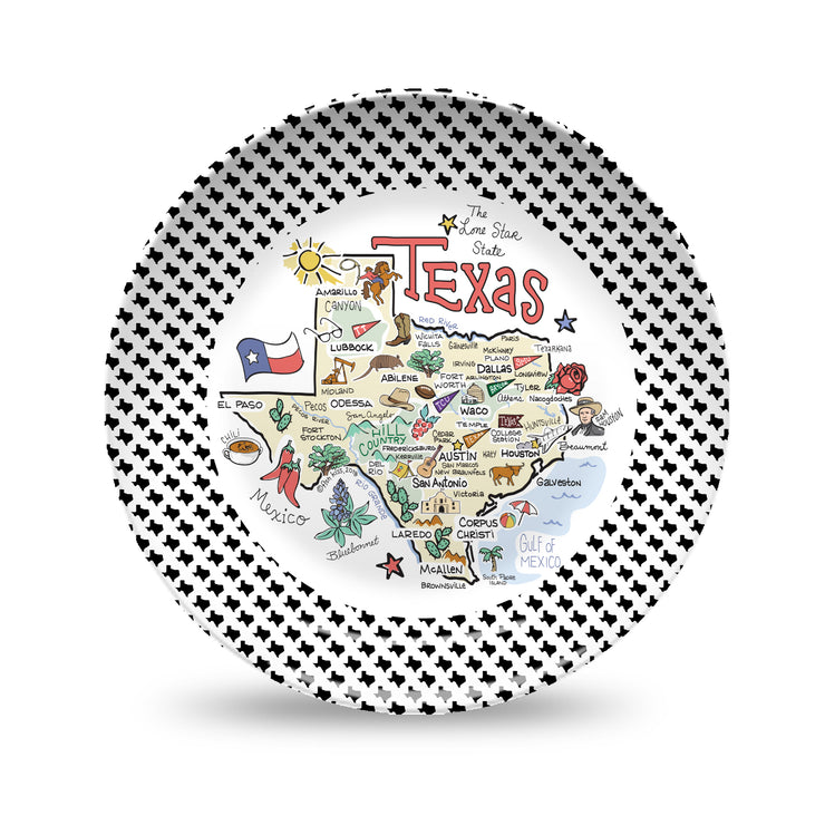 Texas Black & White Plate
