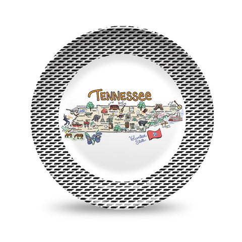 Tennessee Map Black & White Plate